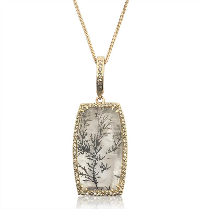 Dendritic Quartz & Diamond Necklace