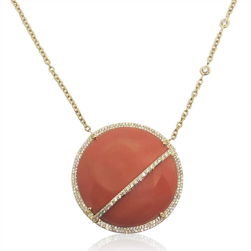 Coral & Diamond Necklace