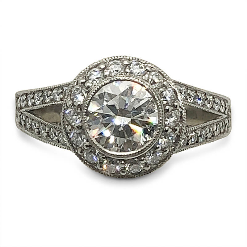 Bezel Set Diamond Halo Engagement Ring