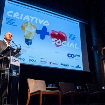 O secretário da Cultura do Estado de São Paulo Romildo Campello na abertura do programa CoLABore/Foto: Verônica Bertoni/Unibes Cultural