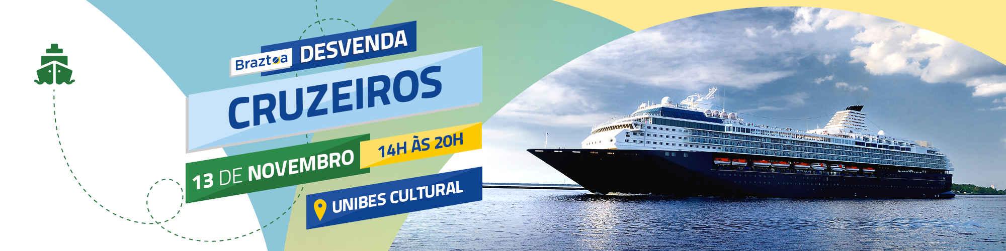 Braztoa Desvenda – Cruzeiros Marítimos acontece em 13 de novembro