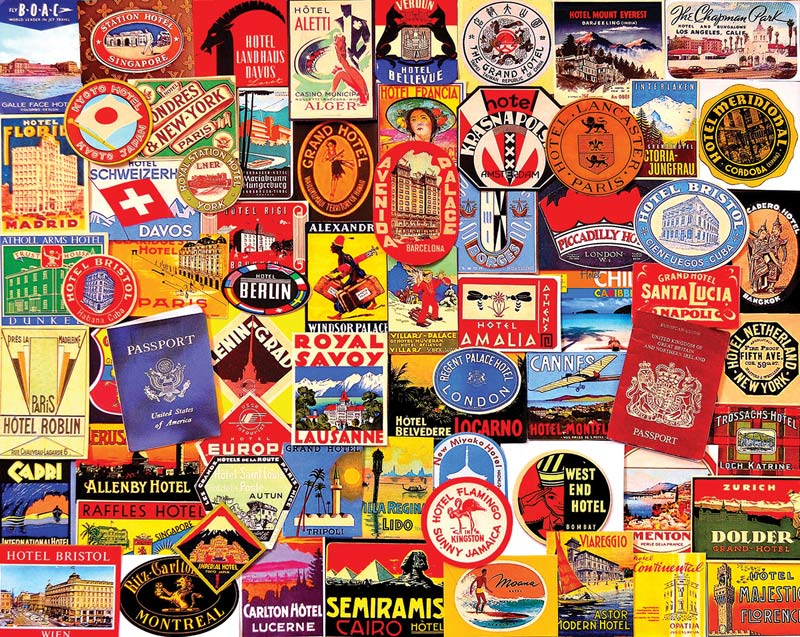 Hotel Stickers Collage Jigsaw Puzzle