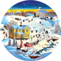 Grandmother's House Winter Round Jigsaw Puzzle