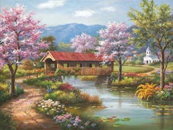 Covered Bridge in Spring Spring Jigsaw Puzzle
