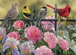 Birds on a Fence Flowers Jigsaw Puzzle