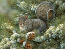 Gray Squirrel Winter Large Piece