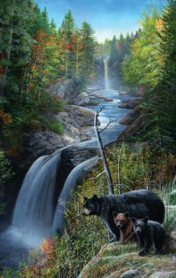 Bears at the Waterfall Wildlife Jigsaw Puzzle