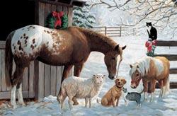 Barnyard Greetings Winter Tray Puzzle