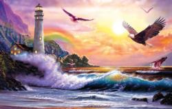 Peaceful Seascape Lighthouses Large Piece