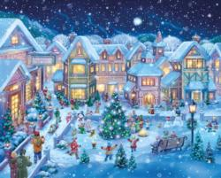Holiday Village Square Winter Jigsaw Puzzle