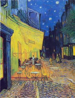 Cafe Terrace at Night Street Scene Jigsaw Puzzle