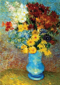 Flowers in Blue Vase Post Impressionism Jigsaw Puzzle