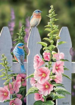 Bluebirds and Hollyhocks Birds Jigsaw Puzzle