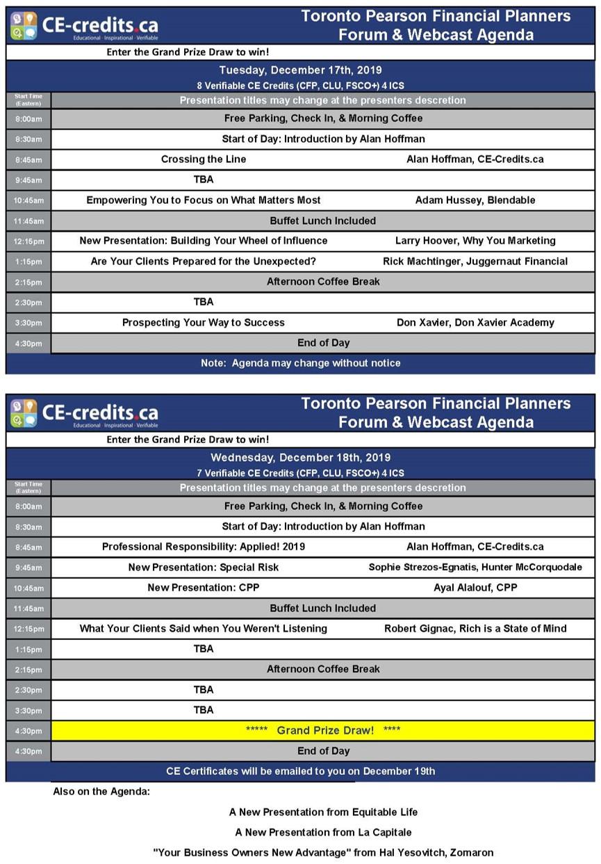 Toronto Pearson Financial Planners Forum (Click for Agenda