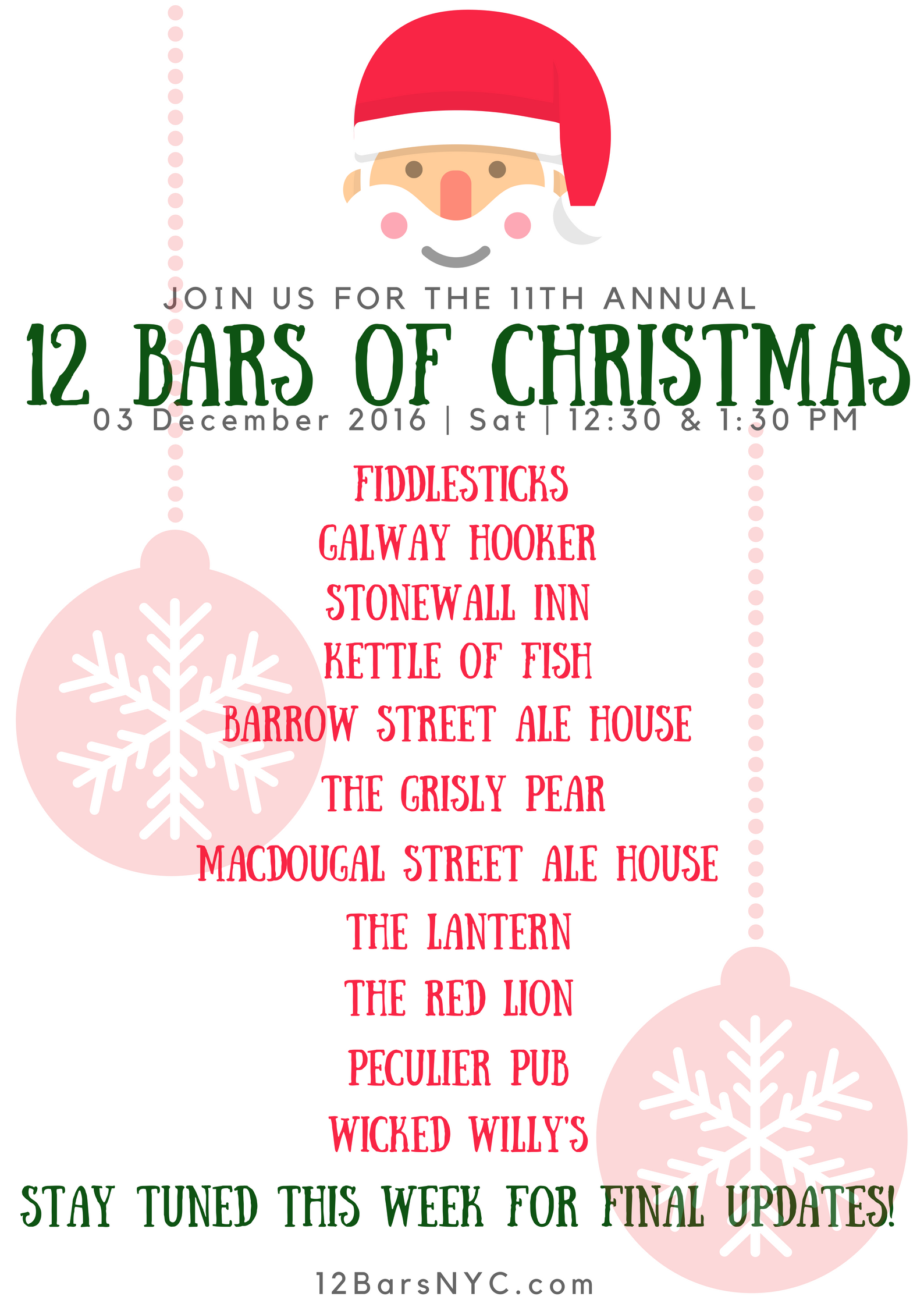 join us as we celebrate the holiday season in the only way acceptable a 12 bars of christmas bar crawl