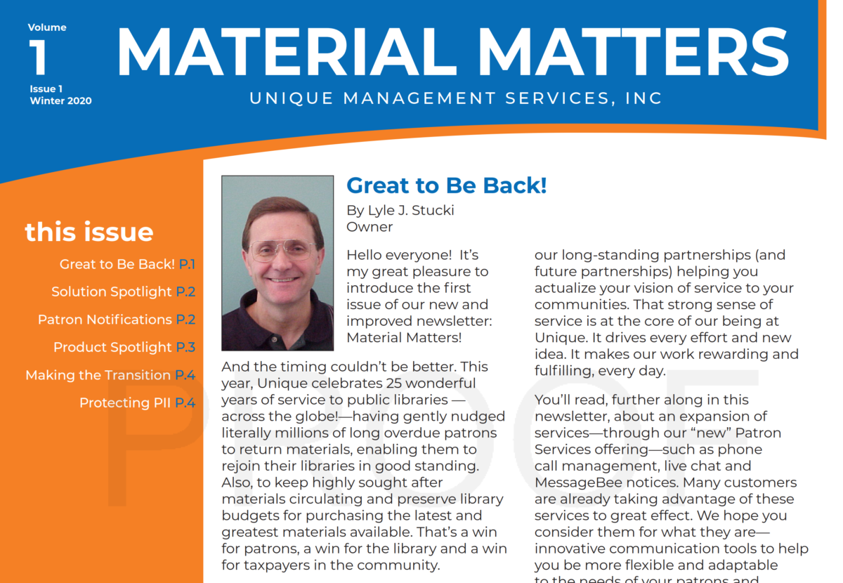 Material Matters: Great To Be Back!