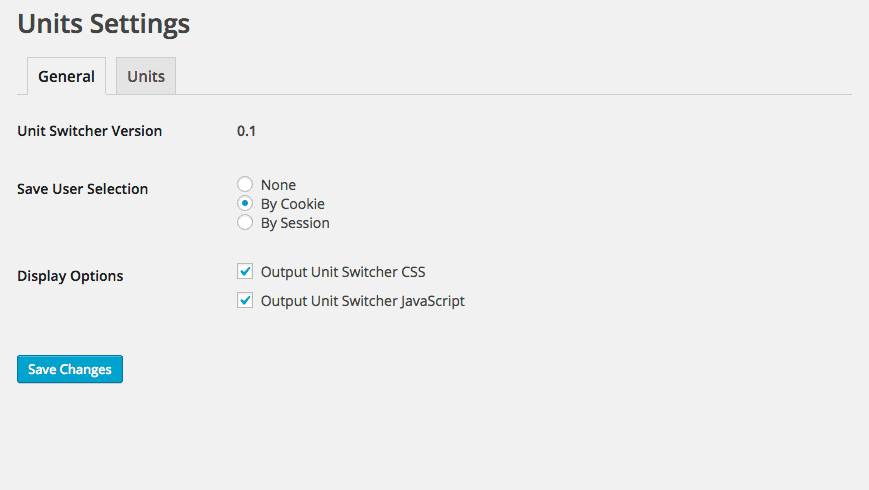 Unit Switcher for WordPress General Settings