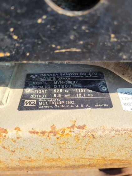 2018 Multiquip MVH508DZ Plate Compactor