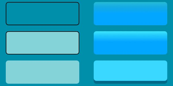 illustration of increasingly complex button styles