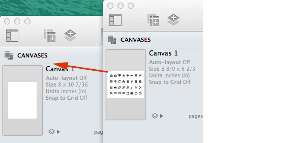 screen shot of copying canvases
