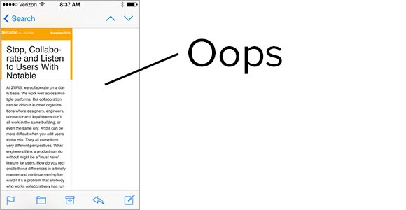 screenshot of an email that was only half as wide as it should have been