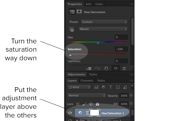 Screenshot of the Photoshop layers and properties palette. Your mileage may vary.