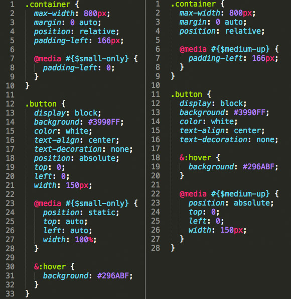Screen shot of code samples side-by-side