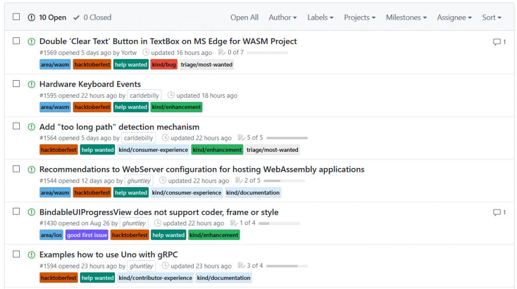 hacktoberfest 2019 - example issues