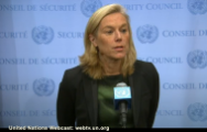 Sigrid Kaag, Special Coordinator OPCW-UN Joint Mission, meets the media after briefing the Security Council on progress made in eliminating Syria's chemical weapons programme