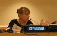 Nobel Peace Laureate Jody Williams visits UN with stories about what motivates her activism and the role of civil society in promoting change