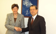 UN High Representative Angela Kane meets with Mr. Yasuyoshi Komizo, Secretary-General of the Mayors for Peace