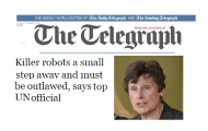 High Representative Kane in The Telegraph (UK) article calling for pre-emptive ban on killer robots and fully autonomous weapons