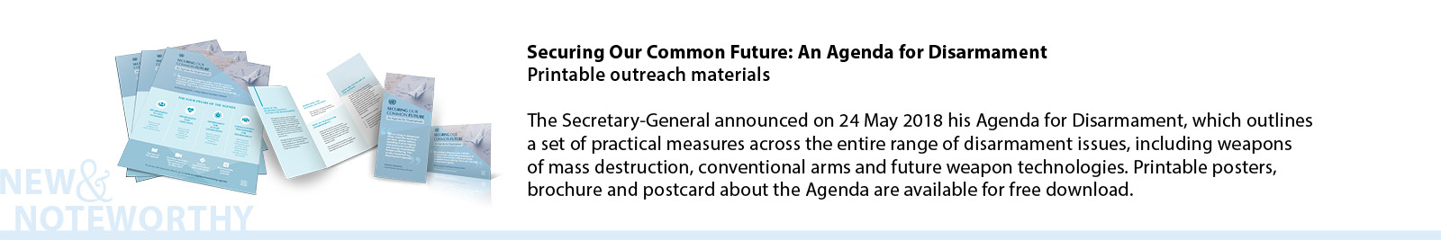 Securing Our Common Future: An Agenda for Disarmament - Printable outreach materials - The Secretary-General announced on 24 May 2018 his Agenda for Disarmament, which outlines a set of practical measures across the entire range of disarmament issues, including weapons of mass destruction, conventional arms and future weapon technologies. Printable posters, brochure and postcard about the Agenda are available for free download.