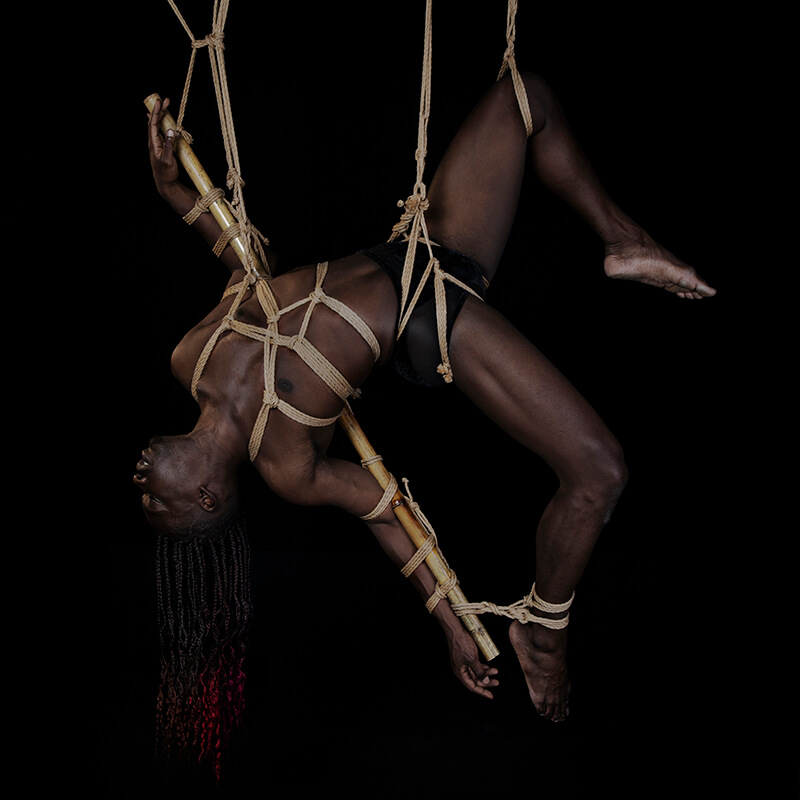 Shibari rope bondage model hanging in suspension
