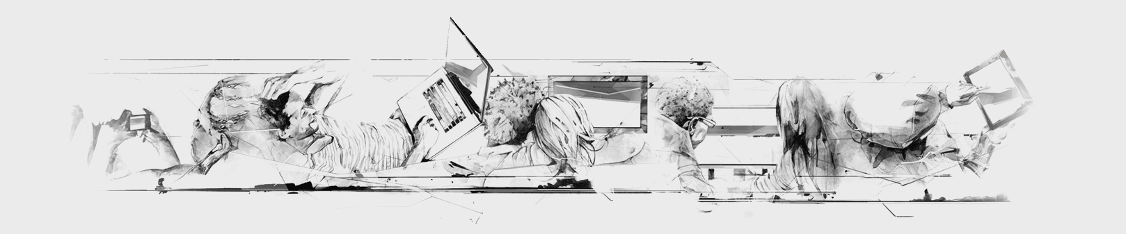 black and white sketched image with folks relaxing in couch