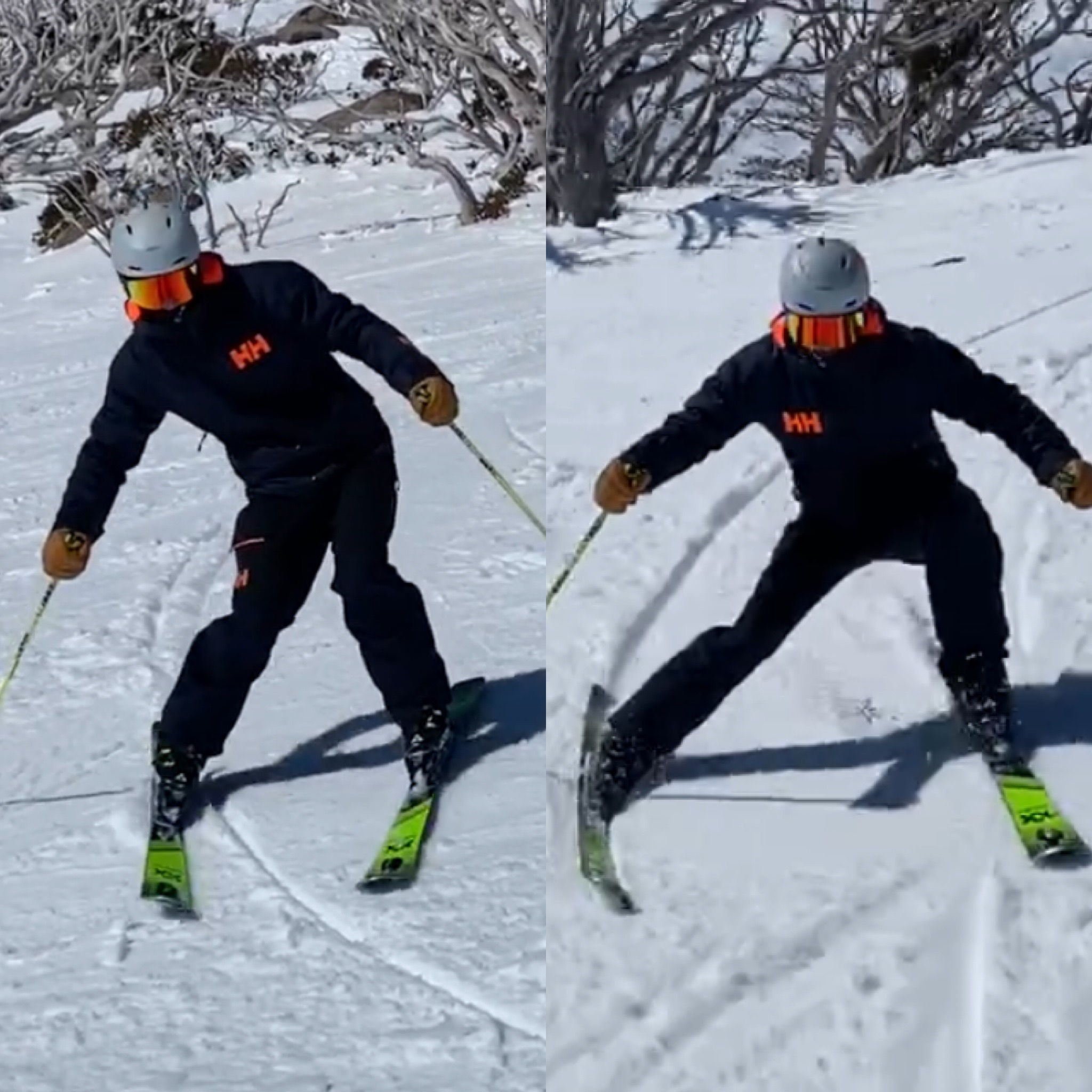 Notice the difference in ski bend between ~45 degrees and ~60 degrees