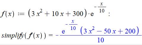 Kommandoen simplify anvendes her for at tvinge maple til at opgive et mere simpelt udtryk
