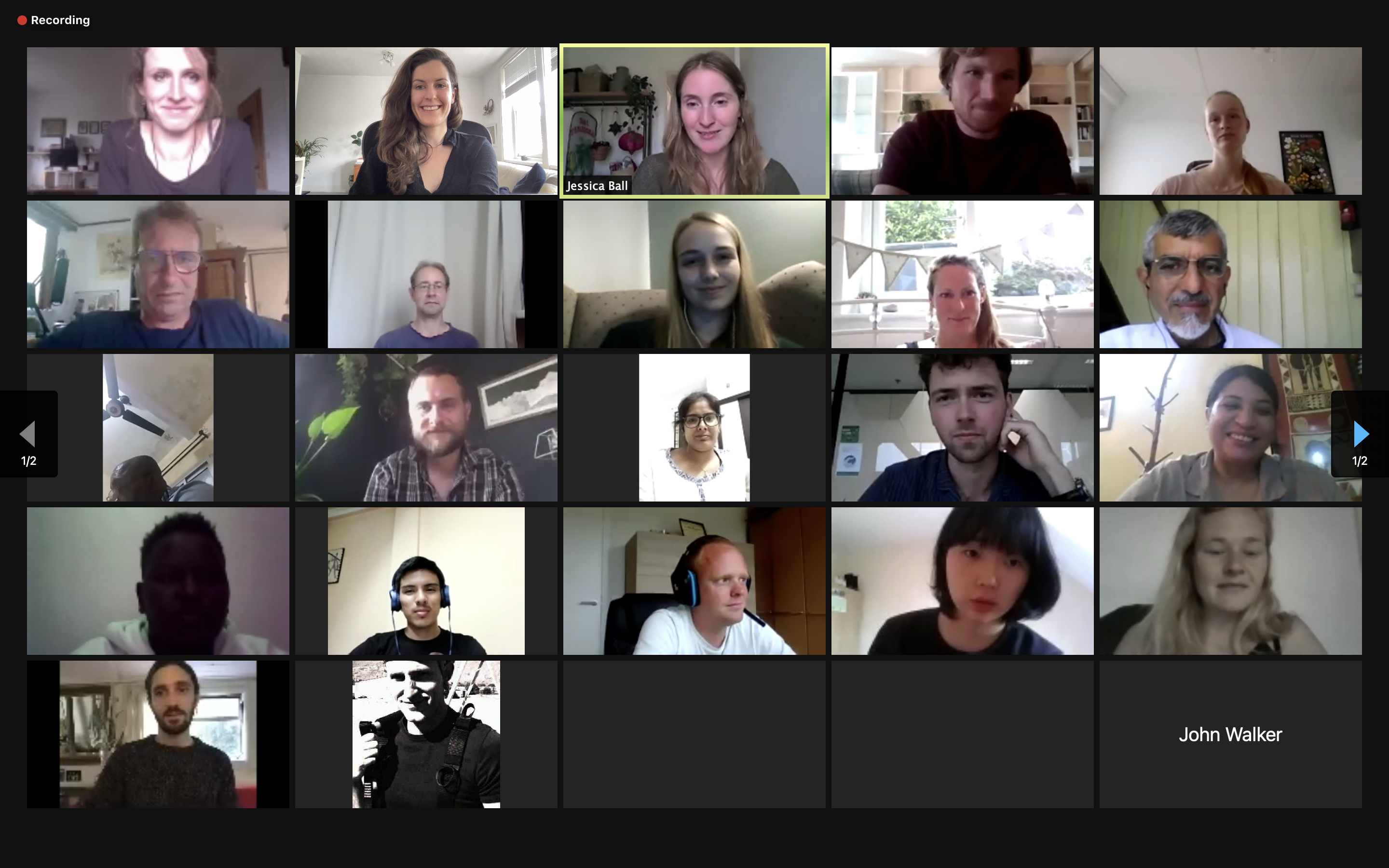 Screen shot of 'What is Rewilding' attendees.