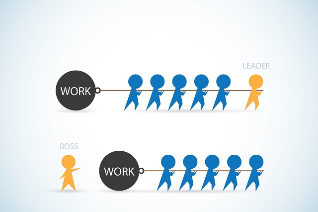 """Diagram showing figures pulling a heavy weight; the """"leader"""" is pulling with the figures and the """"boss"""" is directing the figures to pull"""