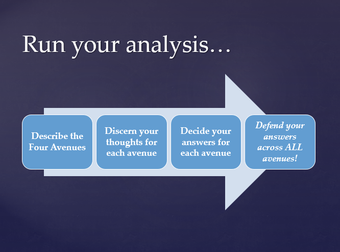 Run your analysis... Describe the Four Avenues, Discern your thoughts for each avenue, Decide your answers for each avenue, Defend your answers across ALL avenues!