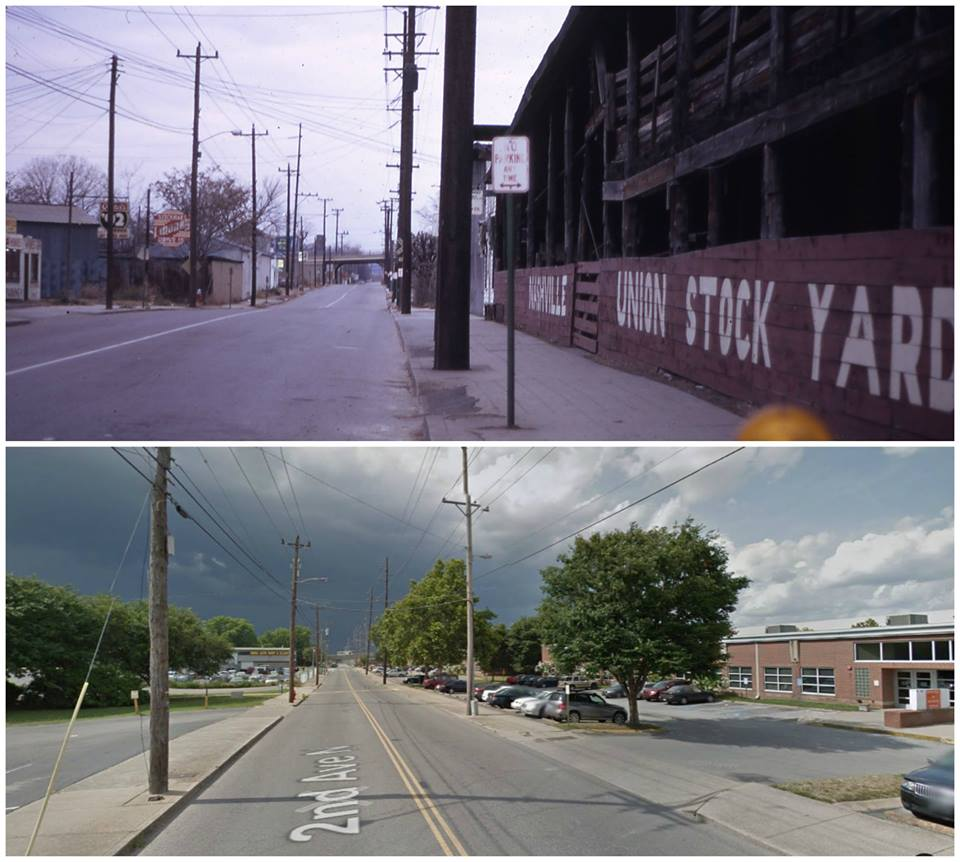 Site of Nash Stockyard 2nd Ave - 1960s and current