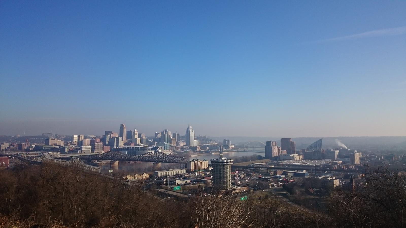 Cincinnati, OH and Covington, KY skylines from Devou Park.