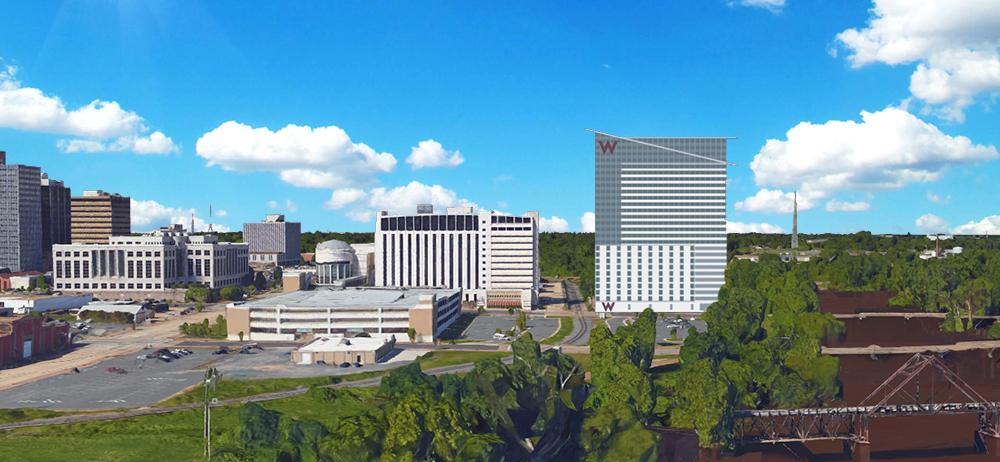Shreveport Cross Bayou hotel development next to convention center & hotel - conceptual