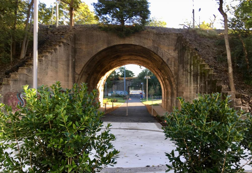 Gay St underpass, Frankie Pierce Park, Capitol View, Oct 12, 2019.jpg