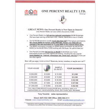 Tony Tzoumis - One Percent Realty. logo