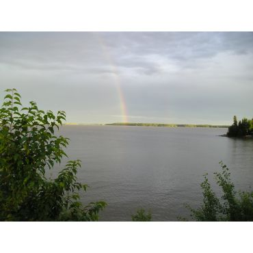 Rainbow across Wabigoon Lake
