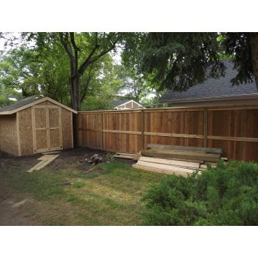 cedar fence and shed