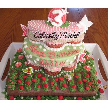 Strawberry Garden- 3rd Birthday Cake