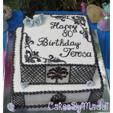 80th Birthday Damask Cake