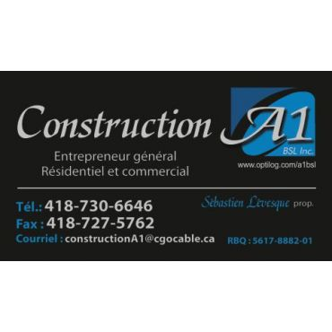 A1 CONSTRUCTION BSL INC in Rimouski, QC | 4187306646 | 411 ca